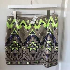 Express Sequined Aztec Mini Skirt